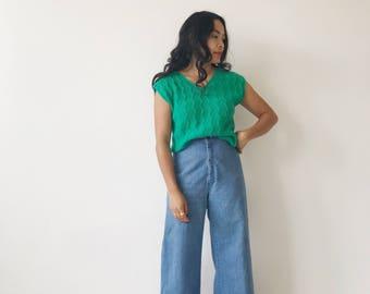 Vintage Green Short Sleeve Knit Blouse