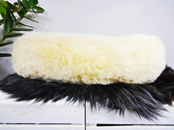 Sheepskin neck pillow. Genuine fur. Fill up with natural wool. Decorative pillow. Original home decor.