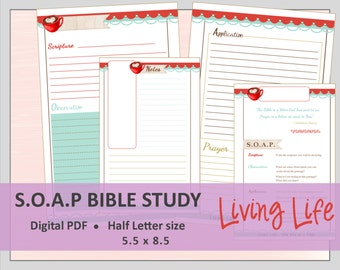 """HALF LETTER S.O.A.P. Bible Study Printable Planner Journal Refills / Inserts - PDF - 5.5 x 8.5  """"Living Life"""""""