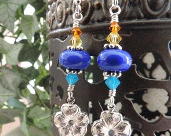 SALE - Hibiscus Tropical Flower Charm Royal Blue, Ocean Blue, Yellow Orange Swarovski Crystal Sterling Silver Dangle Earrings