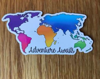 World map sticker etsy adventure awaits world map sticker gumiabroncs Image collections