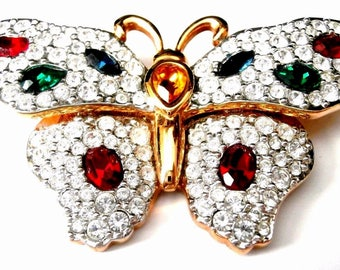 Signed Swarovski Pin Brooch Gold Plated Butterfly w/Pave & Bezel set Crystals (D)