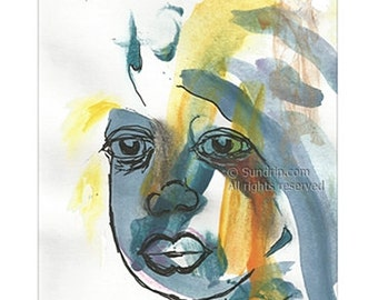 She is Beautiful. Blue Gold Sienna Brush Strokes, Original African Child Portrait