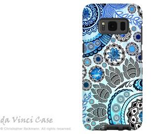 Case for Samsung Galaxy S8 - Blue Paisley S 8 Case with Floral Art - Mehndi Garden - Premium S8 Dual Layer Case by Da Vinci Case