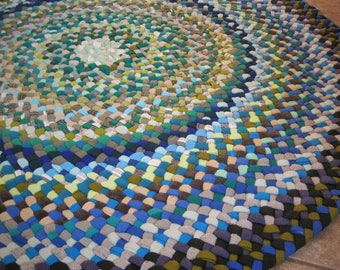 New Ready To Ship Handmade Hand Braided Recycled Round  Rug / Rag Rug / Carpet in shades of blue and green for nursery / bathroom /entryway
