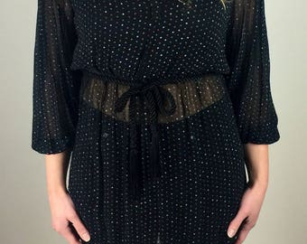 Vintage 60's black sheer rainbow polka dot belted tunic top