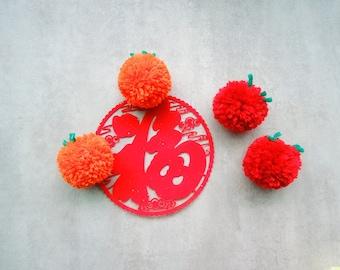 2pcs/set-pompom magnet, fruit magnets, cute magnets, fluffy magnet, colorful magnet, chinese new year gift, fridge magnet