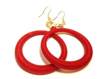 VINTAGE Earrings Red Earrings DANGLE Ribbed HOOP earrings Red 4 inch long 2.5 inch hoop