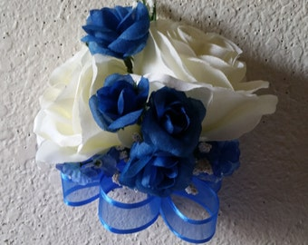 Ivory Royal Blue Rose Corsage or Boutonniere