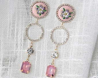 Earrings romantic and vintage embroidery