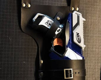 Holster Basic - Fit with Nerf - Leather Holster - Steampunk Holster - Post Apocalyptic Holster - Nerf - Holster -