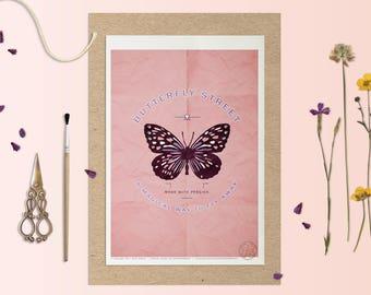 Affiche CHASING BUTTERFLIES - Poster Papillon - affiche deco, affiche insecte, Illustration, Art mural, botanique, Affiche papillon, Pastels