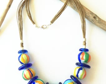 Beaded lampwork necklace, Boho Murano glass necklace, Chunky colorful necklace, Statement necklace, Rainbow necklace, Women necklace