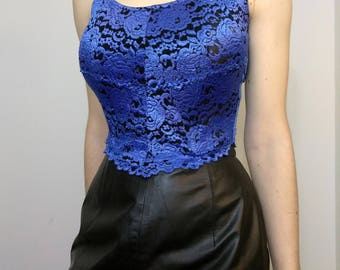 90s Bebe CROPPED CORSET Blue Floral Sheer Bodice Tank With Boning Size Small