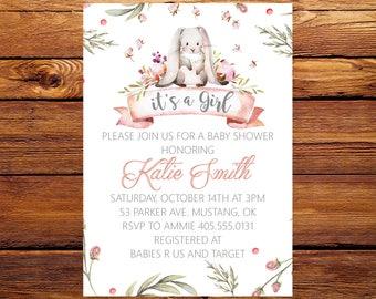 Bunny Baby Shower Invitation, Girl Baby Shower Invite, Baby Shower Invitation