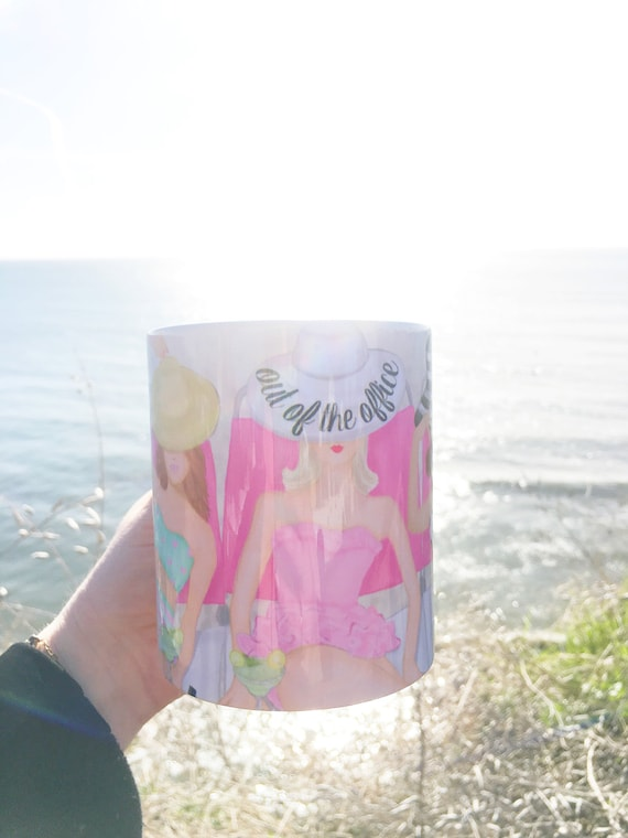 Out of the office mug, beach mug, boss mug, girly mug, coffee lover, gifts for her, beach lover, pink mug, pink lover, margarita lover