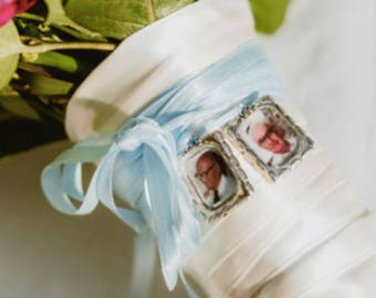 Wedding Memorial Photo Charm to Attach to your Wedding Bouquet (includes everything) Missing you as I walk down that aisle - Bridal Shower