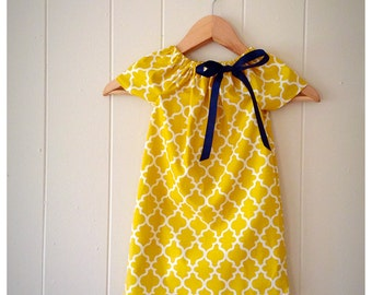 Navy and yellow, fall dress,  girls yellow dress, girls peasant dress, navy and yellow dress,picture outfit, birthday outfit