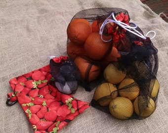 Set of Three Black Mesh Produce Bags with Matching Strawberry Fabric Carry Pouch and Carabiner