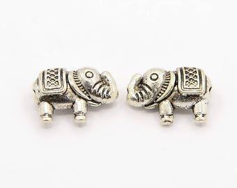 set of 10 beads Tibetan silver elephant 9 x 12 mm