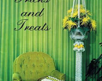 MACRAME TRICKS And TREATS 1970s Pattern Book Owls, Bell Pull, Pot Hangers, Purses