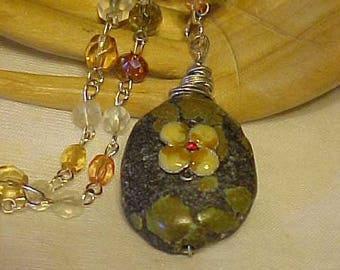 TURQUOISE Nugget~~GLASS BEAD Chain w/wired Turquoise Nugget~recycled necklace piece adorns front of Turquoise~Unique & Stylish