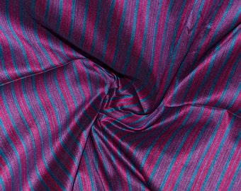 Magenta and cyan stripes on hand-loom cotton silk, One yard