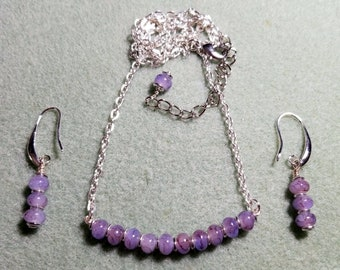 Lovely Lilac Glass Beads in a Simple Chain Necklace with Matching Earrings