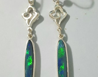 Australian opal earrings in Argentium 935 silver