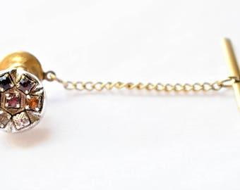 Vintage Rhinestone Tie Tack Pin Bar and Chain Men's Retro Tie Suit Accessories Jewelry