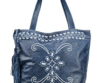 Embroidered tote, blue leather tote, fringes purse, leather bag, shopper leather, computer bag, blue tote, medium blue bag, bohemian bag