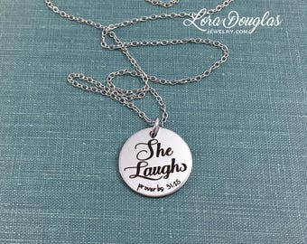 She Laughs, Proverbs 31:25, Bible Verse Charm, Engraved Charm, Silver Charm, Charm Bracelet, Charm, Sterling Silver, Stainless Steel