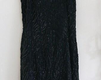 Beautiful Vintage Black Sequin Party Dress Medium