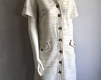 Vintage Women's 60's Mod Dress, A-Line,Cream, Brown, Shor Sleeve by Henry Lee (L)