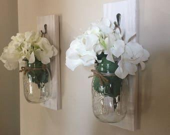 Set of 2 mason jar lantern Lantern Entryway decor Wall