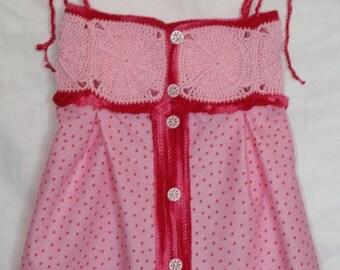Dress cotton granny small polka dots 3-9 months