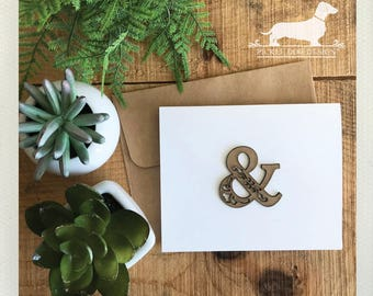 DOLLAR DEAL! Ampersand. Note Card -- (Love, Wood, Laser Cut, Rustic Chic, Vintage-Style, Brown, Typographic, Simple, Anniversary, Simple)