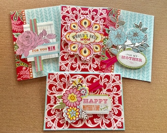 Set of 4 Anna Griffin embellished Mother's Day cards and envelopes