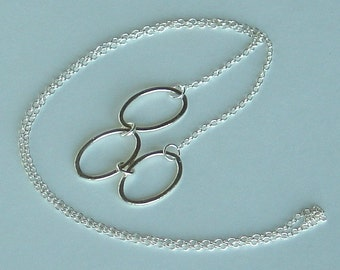 Silver Necklace Hammered Sterling Silver Ovals