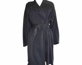 Azzedine Alaïa : navy blue cotton TRENCH COAT, size M, vintage 80s, Alaïa vintage luxury coat Made in France female trench coat long coats