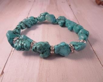 Beaded Stretch Bracelet in Aqua/Turquoise, Stack Bracelet, Boho, Gift for Her, Bohemian Bracelet, Boho Chic Jewelry