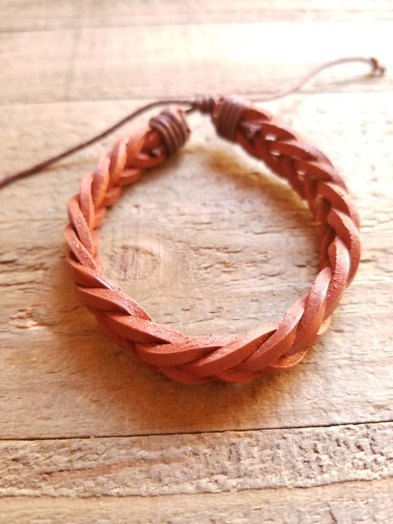 Handmade Leather Weave Brown Braided Bracelet Native American Style Fashion