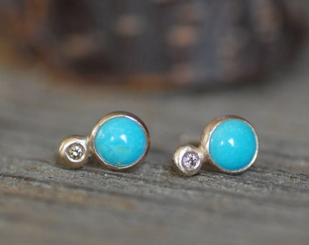 Turquoise Diamond Post Earrings - 6mm Turquoise Posts - Choose to have the earrings backs Sterling Or 14k Gold