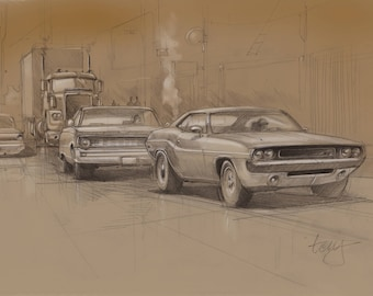 Dodge Challenger Ford Falcon and Peterbilt truck classic cars poster print