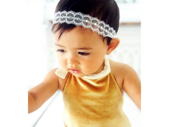 Christening Headband, White Headband, Blessing Headband, Lace Headband, White Adjustable Headband by Chloe Reese