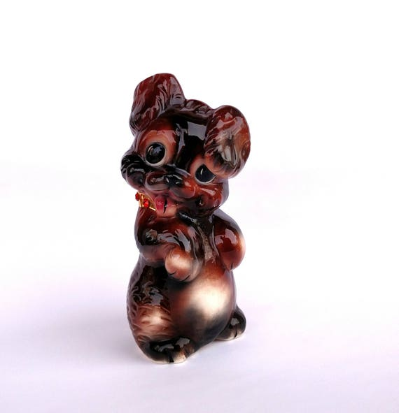 Vintage 1970's Kitschy Cute Big Eyed Puppy Coin Bank
