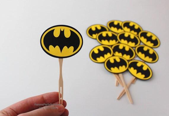 Batman birthday decorations Bat man cupcake toppers Batman