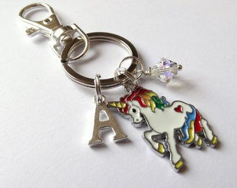 Unicorn Keyring/Bagcharm with Initials and Swarovski Element Birthstone, Monogram, Fantasy, Magical, Mythical, Rainbow, Gift for Her