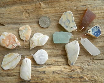 12 Drilled Sea pottery, sea glass and shell pendant Pieces With 10 mm silver plated Jump Rings