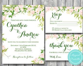 Custom Wedding Invitation Set, Wedding Invitation Printable, Bridal Shower, Green Garden Wedding Invitation Suite WD88 WI28